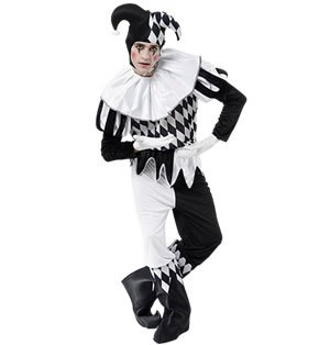 Black & White Men's Harlequin Costume