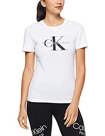 Calvin Klein Jeans Women's Core Monogram Reg Fit Logo Tee, Assorted, XS Grey