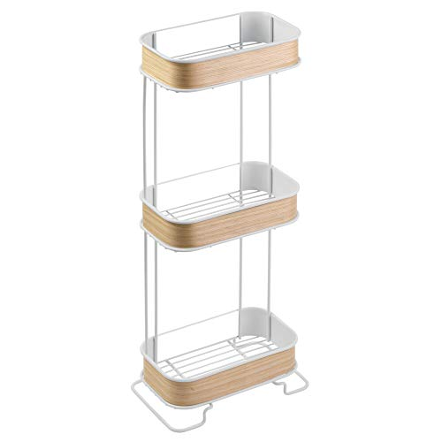 (InterDesign RealWood Free Standing Bathroom Storage Shelves for Towels, Soap, Tissues, Lotion, Accessories - 3 Tiers, White/Light Wood Finish)