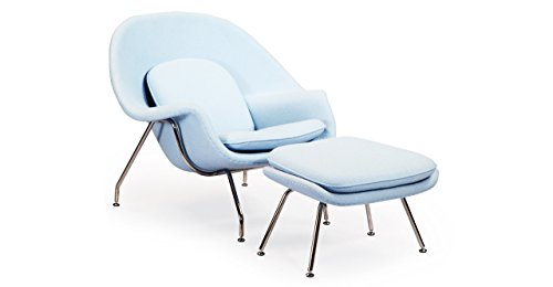 Kardiel Womb Chair & Ottoman, Baby Blue Boucle Cashmere (Molded Fiberglass Lounge Chair)