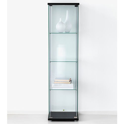 amazoncom ikea detolf glass curio display cabinet black lockable light and lock included kitchen u0026 dining