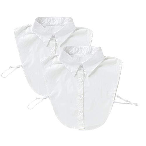 WDragon 2Pcs Fake Collar Detachable Dickey Faux Blouse False Collar Half Shirts for Girls Women Female