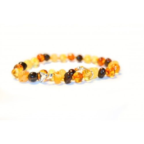 The Art of Cure Baltic Amber Bracelet 10 Inch - Silver Lobster Clasp (Multi) - Anti-inflammatory