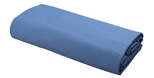 FLAT Sheet by DELANNA 100% Cotton Percale Weave Top Sheet Crisp, Comfortable, Breathable, Soft and Durable (Twin, Serenity Blue) (Case 220 Percale Pillow)