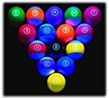 Epco Premium Quality, American Made, Glo Regulation Billiard or Pool Set, with 5.75oz, 2.25' diam balls