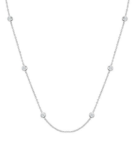 - Diamond Wish Sterling Silver Diamond By The Yard Simulated CZ Necklace 18