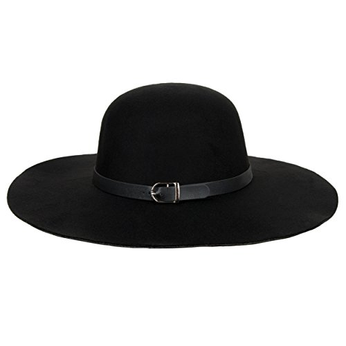 Aerusi Womans Medium Pitch Black Felt Vintage Floppy - Felt Hats For Women Wide Brim