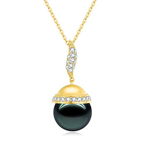 - 18K Gold 0.580ct Round Diamond 12mm Genuine Black Tahitian South Sea Cultured Pearl Infinity Pendant Necklace for Women with 18