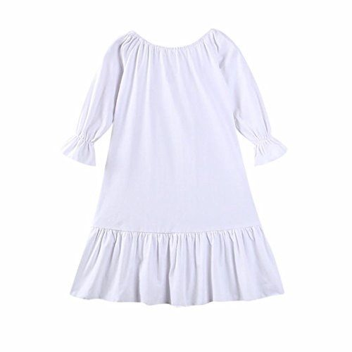 Goodtrade8 Toddler Infant Baby Girl Lace Ruffle Long Sleeve Princess Dress Sundress Outfit (3T(2-3 Years), White)