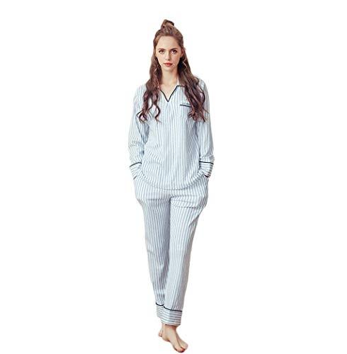 Ropa Conjunto Elegantes Fashion El V Otoño Pantalones Hogar Para Dormir De Blau Mujer Largo Mujeres Rayado Pijama Primavera Manga cuello Clásico wtawBr6qn