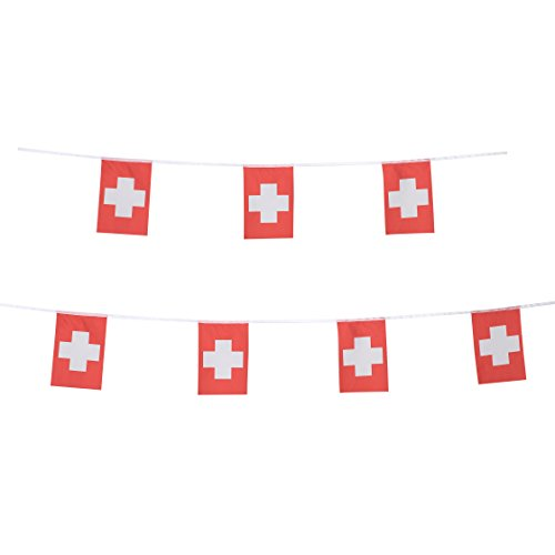 TSMD Switzerland Flag, 100 Feet Swiss Flag National Country World Pennant Flags Banner String,Party Decorations for Grand Opening,Olympics,Bar,School Sports Events,International Festival Celebration