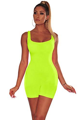 LYB FASHION Bodycon Spandex Womens Jumpsuit Catsuit Bodysuit Tank TOP Shorts Sleeveless Romper 416 (Small, NEON Green) (Shorts Spandex Neon)