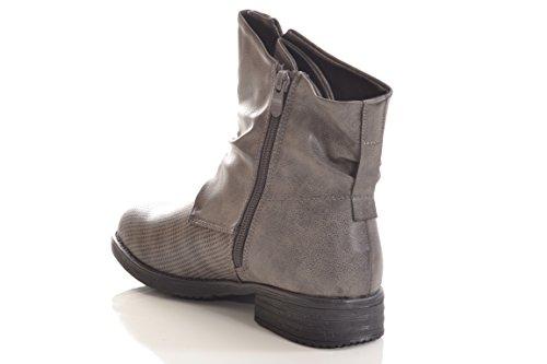 Damen Stiefel Stiefelette warm gefüttert hochwertige Lederoptik Boots Biker Combat 936 PA Grey