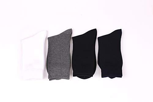 Budermmy Lot de 3 ou 6, 9 paires Chaussettes Homme - Coton - Confortable et Respirante - Taille 39/44- Noir Blanc Gris… 5
