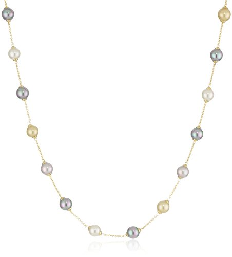 Majorica Vermeil 8mm Multi-Round Pearls Station Necklace, 18'' by Majorica