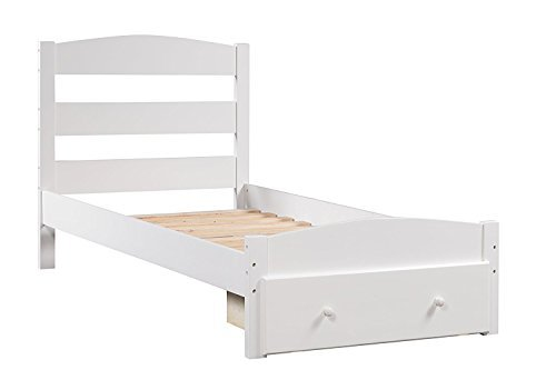 Merax Platform Twin Bed Wood Frame with Storage/Headboard/Wooden Slat Support (White)