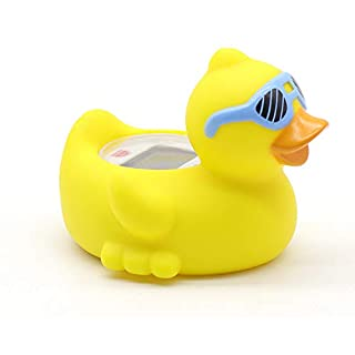 Baby Bathtub Thermometer, Infant Baby Bath Floating Duck Temperature Thermometer with Temperature Safety Indicator (Duck with Blue Glasses)