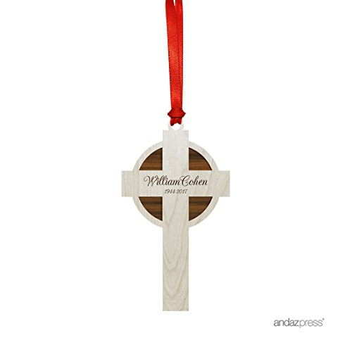 Andaz Press Personalized Laser Engraved Wood Christmas Ornament, Forever in Our Hearts Memorial Ornament 2019, Cross Shape, 1-Pack, Rustic Memorial Holiday ()