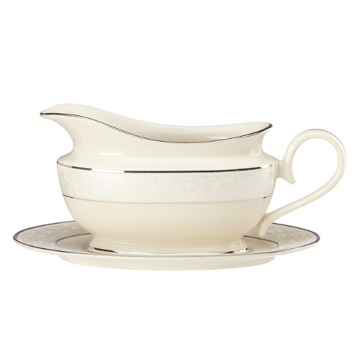 Lenox Pearl Innocence Sauce Boat and Stand, Ivory (Pearl Gravy Boat)