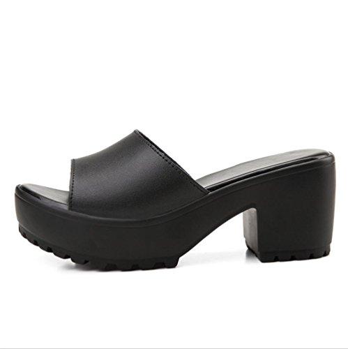mhgao Ladies Fashion Home Interior Al aire libre piel zapato negro