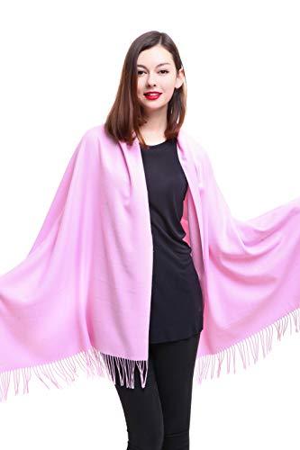 REEMONDE Womens Super Soft Long Shawl Solid Colors Warm Pashmina Big Scarf (Pink)