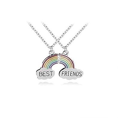 431358b5fd8087 Trendy Best Friends Pendant Necklace Rainbow Broken Heart Necklace For Women  Silver Chain BFF Friendship Jewelry