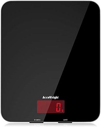 ACCUWEIGHT Balance de Cuisine Électronique Balance Multifonctionnelle Numérique avec Écran LCD Rétro-éclairé Balances Postales avec Plateforme en Verre Trempé, Arrêt Automatique, Fonction de Tare
