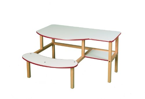 Wild Zoo Furniture Childs Wooden Computer Desk for 1 to 2 Kids, Ages 5 to 10, White/Red by Wild Zoo Furniture