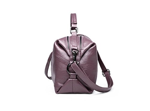 Boston Leather Slung Shoulder Big Autumn Handbag Soft And Large Winter Bag Bag Shoulder Wild New Purple Portable capacity qqw6YHI
