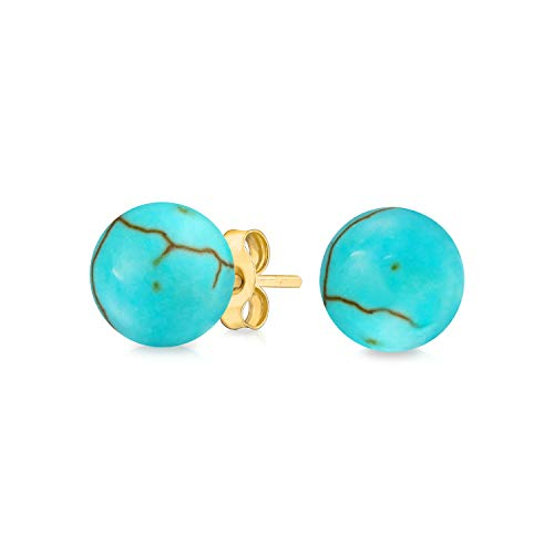 (Simple Gemstone Stabilized Turquoise Round Ball Stud Earrings For Women Real 14K Yellow Gold 6MM December Birthstone)