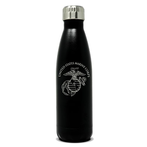 Marines Personalized Gifts - Military Gift Shop 17oz USMC Double Wall Vacuum Insulated Stainless Steel Marine Corps Water Bottle - Perfect for PT and Outdoor Sports Like Hiking Camping and Cycling