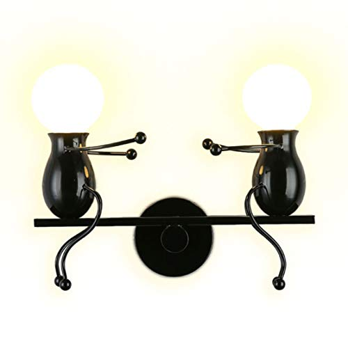 ht Fixtures Childhood Seesaw Double Little People Wall Lamps Bedroom Modern Creative Decor Doll Bedside Lamp Gift Children Cartoon Mini Wall Sconces Lighting Indoor 2×E26 (Black) ()