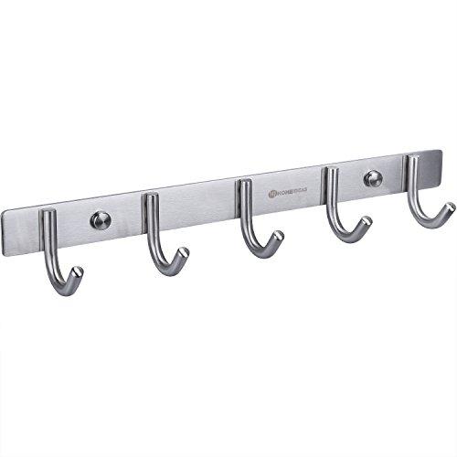 HOMEIDEAS Coat Hook Rack Wall Mounted 13-Inch SUS304 Stainless Steel Brushed Nickel Hook Rail with 5 Heavy Duty Hooks