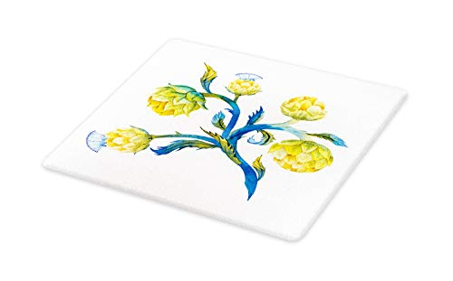 Ambesonne Artichoke Cutting Board, Abstract Vivid Colored Botanical Wonder Natural Flora Food, Decorative Tempered Glass Cutting and Serving Board, Large Size, Violet Blue and Earth Yellow ()