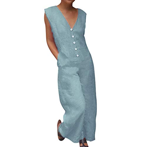 QIQIU Womens New Casual Sleeveless Button Overalls Deep V Neck Rompers Jumpsuit Summer Holiday Long Loose Playsuit Blue]()