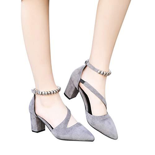 Classics Sandales Grise Pour À Soirée Chaussures Cheville Hauts Mariage Carré Parties Bride De Talon Talons Espigones,avec Kitipeng Été Femme, CAqwdYpxp