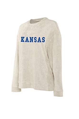 Elite Fan Shop Kansas Jayhawks Women's Crew Pullover Sweatshirt - M - Oatmeal