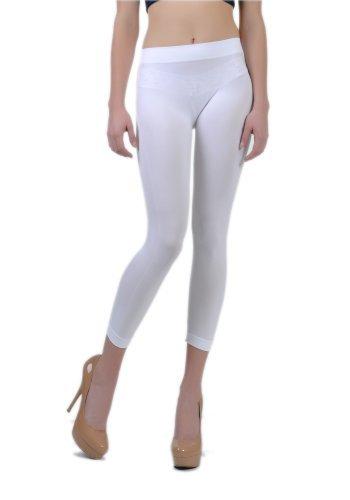 Soho Apparel Girls Seamless Lady Capri Legging SG-27-White Nylon Spandex