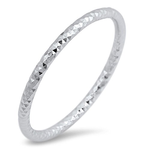 Thin Diamond-Cut Stackable Wedding Ring New .925 Sterling Silver Band Size 3