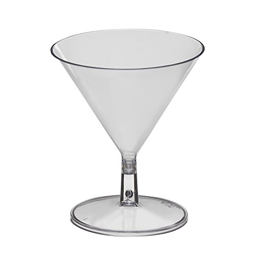 Party Essentials Miniware Hard Plastic 2 Oz. Martini Mini Glasses, Mini Martini Glasses, Pack of 12