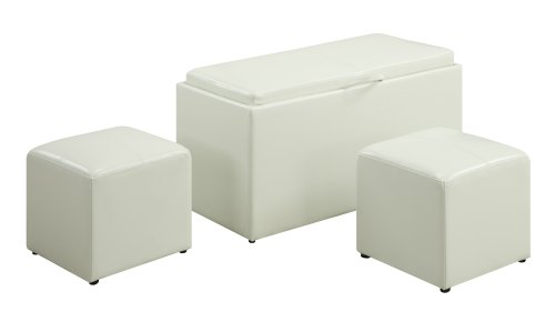 Convenience Concepts Designs4Comfort Sheridan Faux Leather Storage Bench with 2 Side Ottomans, White (Ottoman White Storage)