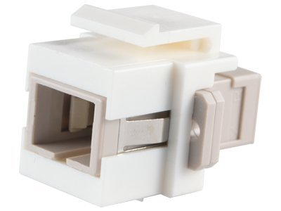 Multimode Simplex Fiber Coupler - Fiber Optic Keystone Coupler - SC to SC Multimode Simplex - White