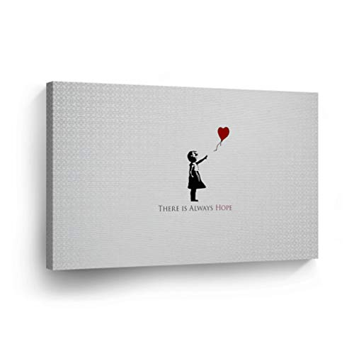 BANKSY CANVAS PRINT There is Always Hope Digital Illustration from London Banksy Wall Art Home Decor Decorative Artwork Gallery Wrapped Wood Stretched Ready to Hang %100 Handmade in the USA 8x12 ()