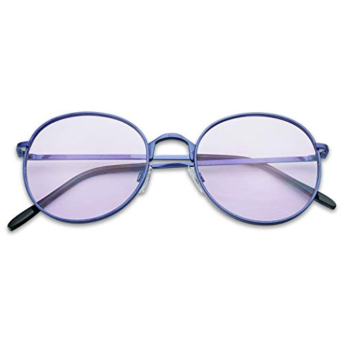 SunglassUP - Colorful Classic Vintage Round Flat Lens Lennon Style Sunglasses (Purple (Light Tint), 53) -