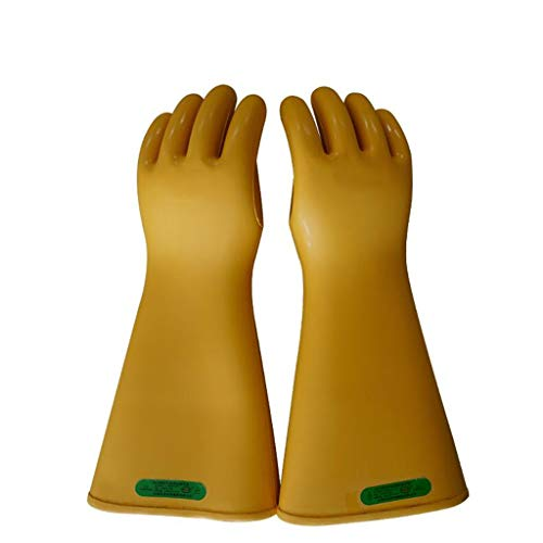 Insulated Gloves Rubber 35KV Safety Electrical Protective Work Gloves Yellow 1 Pair