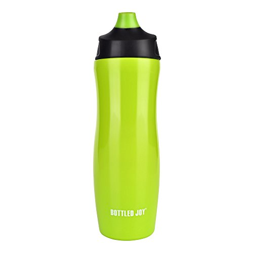 BOTTLED JOY Bike Water Bottle, 100% BPA-Free One-hand Design Valve Squeeze Bicycle Water Bottles for Sports Cycling Outdoor Hiking Camping 17oz 500ml (Green)
