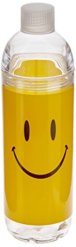 Face Bottle - Spoontiques Smiley Face Acrylic Water Bottle, Yellow