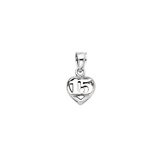Million Charms 14k White Gold Small/Mini 15 Years Birthday or Anniversary Heart Charm Pendant (10mm x 8mm)