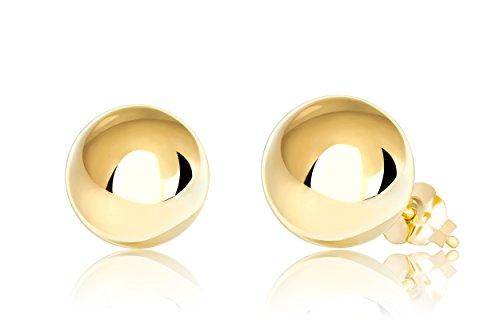 Premium 14K Yellow Gold Ball Stud Earrings (8mm - Yellow Gold)