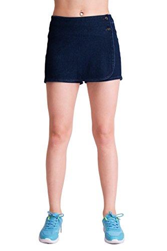 Skort Jean Skirt (Cozy Blue -Dark Blue Atlhetic Skort Super Stretch Knit Denim for Women S)